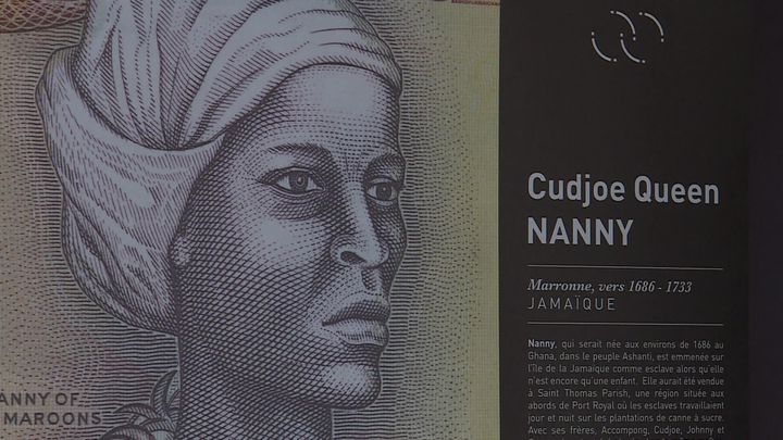 Portrait de Cudjoe Queen Nanny - ExpositionDix femmes puissantes, portraits de femmes en lutte contre l'esclavage colonial- Espace muséographique Victor SchoelcheràFessenheim (O. Barthélémy / France Télévisions)