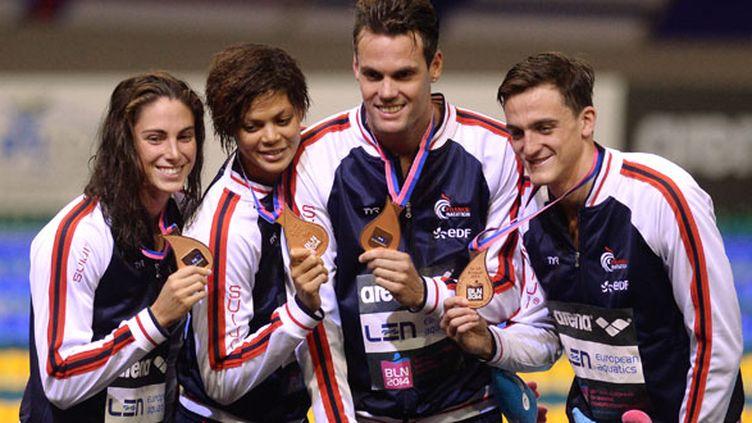 Anna Santamans, Coralie Balmy, Grégory Mallet et Clément Mignon ont remporté la médaille de bronze du relais 4x100 nage libre mixte