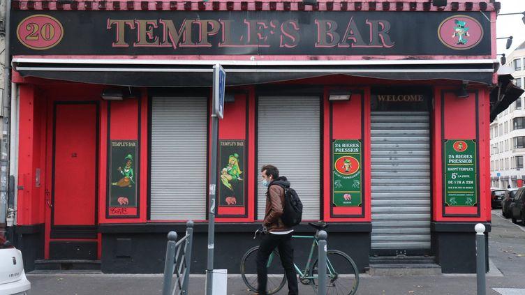 Un bar fermé à Lille à cause du confinement, en octobre 2020. (FRANCOIS CORTADE / FRANCE-BLEU NORD)
