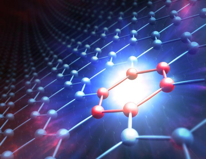 "Une ""feuille"" de graphène composée d'atomes de carbone. (MARK GARLICK/SCIENCE PHOTO LIBRA / MGA)"
