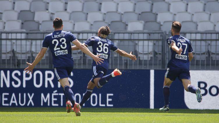 Sekou Mara (Bordeaux)célèbre son premier but lors de la rencontre face à Rennes dimanche 2 mai 2021. (THIBAUD MORITZ / AFP)