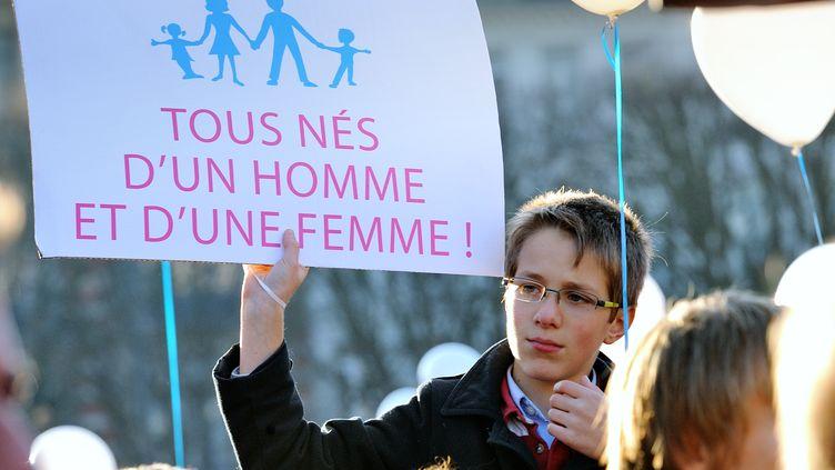 Manifestants contre le mariage pour tous à Lille le 8 décembre 2012 (PHILIPPE HUGUEN / AFP)