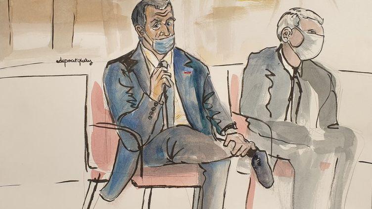 """Nicolas Sarkozy lors du premier jour de son procès pour """"corruption"""" et """"trafic d'influence"""" devant le tribunal correctionnel de Paris, le 23 novembre 2020. (ELISABETH DE POURQUERY / FRANCEINFO)"""