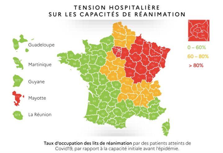 Carte tricolore du ministère des Solidarités et de la Santé présentant la tension hospitalière sur les capacités de réanimation par département. (MINISTÈRE DES SOLIDARITÉS ET DE LA SANTÉ)