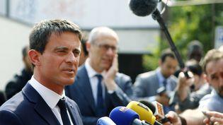 Manuel Valls s'adresse à la presse, le 30 mai 2015, à Trente, dans le nord de l'Italie. (PIERRE TEYSSOT / AFP)