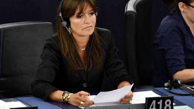 La députée européenne Nathalie Colin-Oesterlé dans l'hémicycle du Parlementeuropéen de Strasbourg, en septembre 2019. (ALEXANDRE MARCHI / MAXPPP)