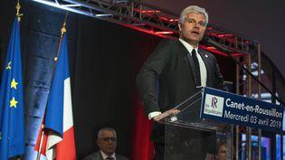 Le président du parti Les Républicains, Laurent Wauquiez, lors d'un meeting pour les élections européennes à Canet-en-Roussillon (Pyrénées-Orientales), le 3 avril 2019. (IDRISS BIGOU-GILLES / HANS LUCAS / AFP)
