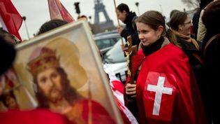 """Manifestation à Paris contre la pièce """"Golgota Picnic"""" (11 décembre 2011)  (Fred Dufour / AFP)"""
