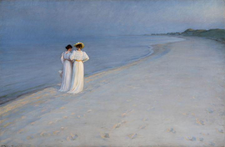 "Peder Severin Krøyer, ""Soirée calme sur la plage de Skagen, Sønderstrand (Anna Ancher et Marie Krøyermarchant), 1893, Skagen, Skagen Kunstmuseer (© Art Museums of Skagen)"