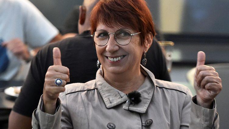 Anne Vignot remporte les élections municipales à Besançon, le 28 juin 2020. (FRANCK LALLEMAND / MAXPPP)