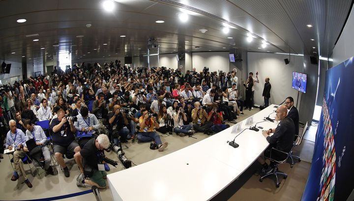 Uneconférence de presse de Zinédine Zidane au centre d'entraînement du Real Madrid, à Valdebebas, le 30 mai 2017. (ANGEL MARTINEZ / REAL MADRID)