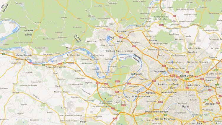 Un petit garçon d'un an a été tué à l'arme blanche, sa soeur de deux ans et sa mère grièvement blessées, le 7 septembre 2013 aux Mureaux (Yvelines). ( GOOGLE MAPS / FRANCETV INFO )