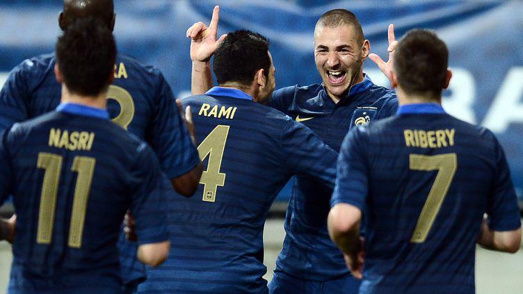 Les coéquipiers de Karim Benzema accourent pour le féliciter après son but face à l'Estonie, le 5 juin 2012 au Mans (Sarthe). (FRANCK FIFE / AFP)