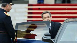 Nicolas Sarkozy, le 15 mai 2012 à l'Elysée, après la passation de pouvoir avec François Hollande. (MARTIN BUREAU / AFP)