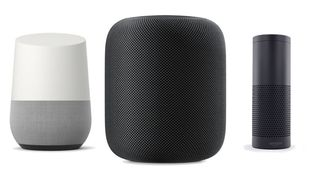 Google Home, HomePod d'Apple, Amazon Echo. (DR)