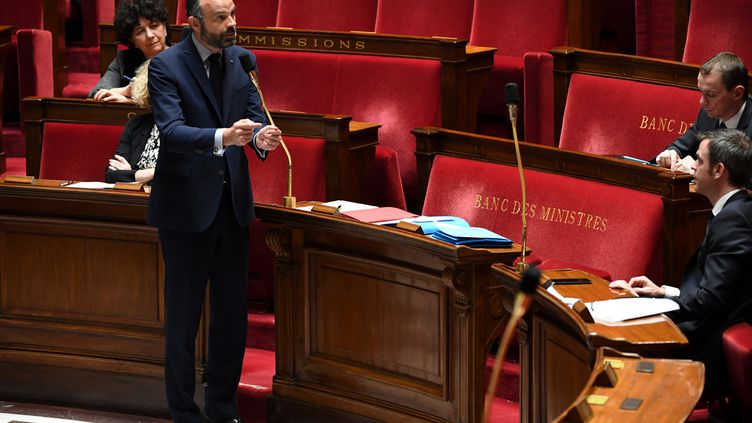 Le Premier ministre Edouard Philippe durant les Questions au gouvernement à l'Assemblée nationale, le 7 avril 2020. (ALAIN JOCARD / POOL)