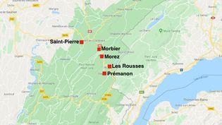 Ouverture d'une enquête après la découverte de plusieurs cancers pédiatriques dans cinq communes voisines du Jura (Crédits Photo : Capture d'écran Google Maps)