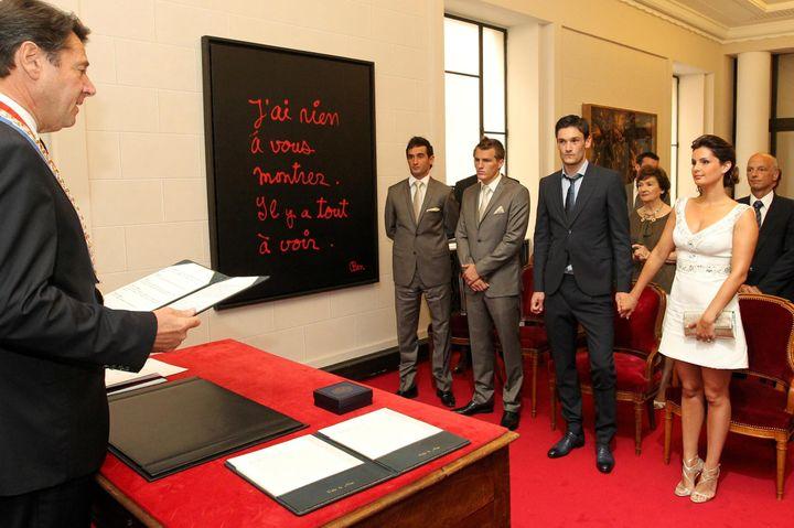 Le mariage d'Hugo et Marine Lloris, le 6 juillet 2012 à Nice (Alpes-Maritimes). (MAXPPP)