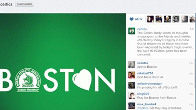 Le club des Boston Celtics a posté quelques heures après le drame ce message sur Instagram
