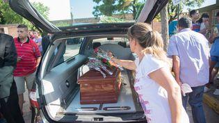 Le cercueil d'Emiliano Sala, le 16 février 2019 à Progreso (Argentine). (MARIO DE FINA / DPA / AFP)