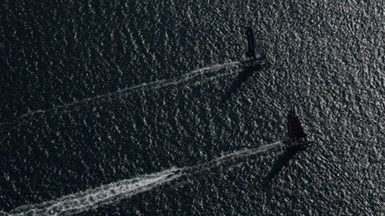 Deux voiliers du championnat de match-racing des America's Cup World Series à San Diego