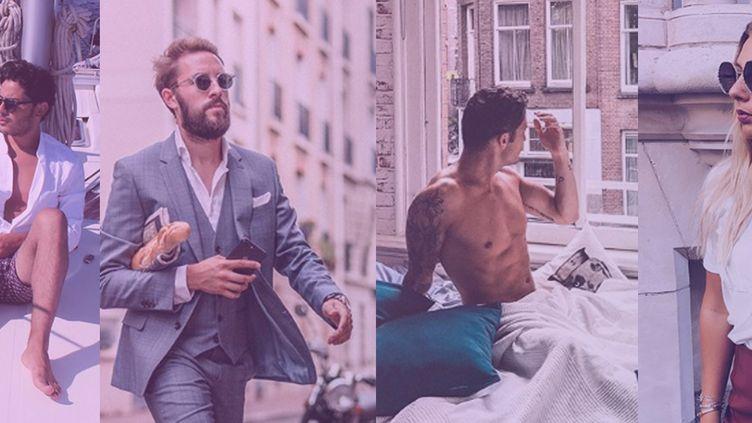 Les influenceurs Amine, Nicolas, Pierre et Diane sur des posts publiés sur leurs comptes Instagram respectifs, entre juillet et septembre 2018. (DR)