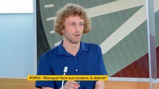 """Mathieu Devlaminck, président de l'Union nationale lycéenne, dans l'émission """"Votre instant politique"""" sur franceinfo, le 10 juin 2021. (FRANCEINFO)"""