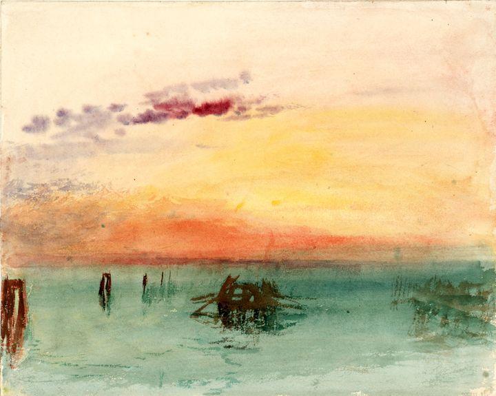 """J. M. W. Turner (1775 – 1851), """"Venise : vue sur la lagune au coucher du soleil"""", 1840, aquarelle sur papier, Tate, accepté par la nation dans le cadre du legs Turner 1856 (Photo © Tate)"""