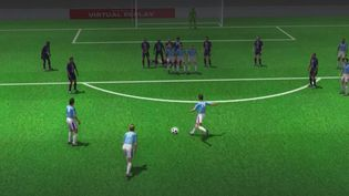 Le but (en 3D) de Mahrez qui donne l'avantage aux Citizens, lors de la demi-finale de Ligue des Champions entre le PSG et Manchester City, le 28 avril 2021. (AFP / franceinfo: sport)