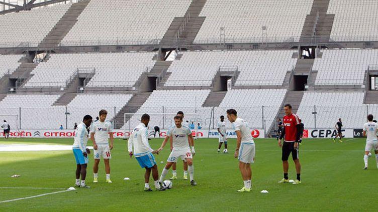 La tribune du stade Vélodrome fermée lors de la rencontre OM-Angers