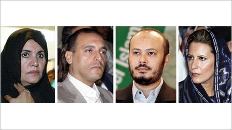 De gauche à droite : Safiya Kadhafi, femme du colonnel, les fils Hannibal, Mohammed et la fille Aïcha. (AFP PHOTO/DSK)