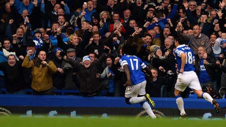 Le Belge Romelu Lukaku avait inscrit l'un des trois buts pour Everton contre Liverpool, le le 23 novembre dernier.  (PAUL ELLIS / AFP)