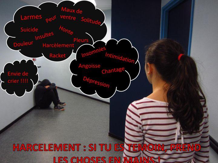 (Une des affiches créées par les élèves du collège Les Renardières à Courbevoie, contre le harcèlement © DR)