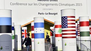 L'entrée de la salle où se tient la 21e conférence des parties sur le climat, la COP21, jeudi 26 novembre 2015. (LOIC VENANCE / AFP)