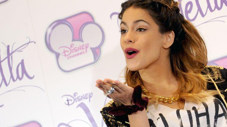 Martina Stoessel, l'interprète de Violetta dans la série du même nom de Disney Channel, à Rome (Italie), le 13 janvier 2014. (LIVIA CRISAFI / AFP)