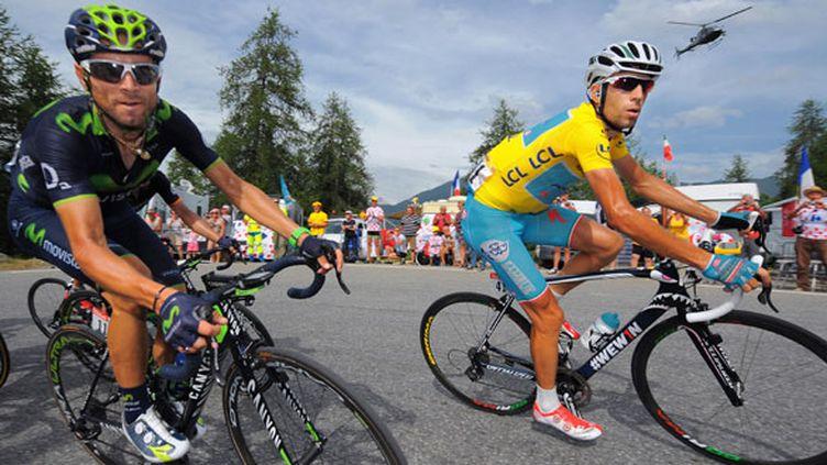 L'Espagnol Alejandro Valverde et l'Italien Vincenzo Nibali, les deux premiers du classement général