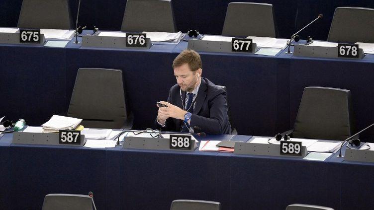Le député européen Jérôme Lavrilleux au Parlement européen, à Strasbourg (Bas-Rhin), le 27 novembre 2014. (FREDERICK FLORIN / AFP)