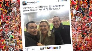 Capture d'écran d'un tweet de Marine Le Pen s'affichant au stade Bollaert de Lens, le 2 novembre 2015. (MAXPPP / FRANCETV INFO)