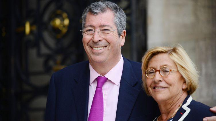Le député-maire UMP de Levallois-Perret (Hauts-de-Seine), Patrick Balkany, et son épouse Isabelle Balkany, à Neuilly-sur-Seine (Hauts-de-Seine), le 16 avril 2013. (REAU ALEXIS/SIPA)
