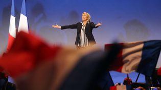 La candidate du Front national à la présidentielle Marine Le Pen, prononce un discours lors du meeting organisé à Nice (Alpes-maritimes), le 27 avril 2017. (VALERY HACHE / AFP)
