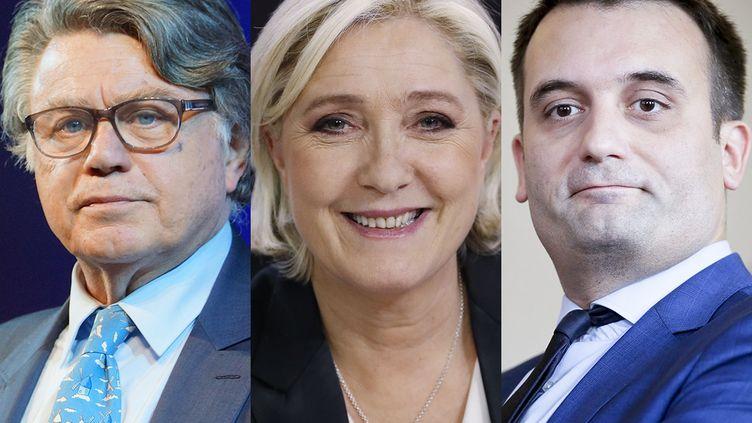 Gilbert Collard, Marine Le Pen et Florian Philippot (de gauche à droite). (AFP)