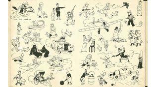 Hergé, planche qui présente Tintin dans 34 situations et qui servait de page de garde aux albums publiés de 1937 à 1958. Elle a atteint un prix record à Paris le 24 mai 2014  (Hergé / Artcurial)