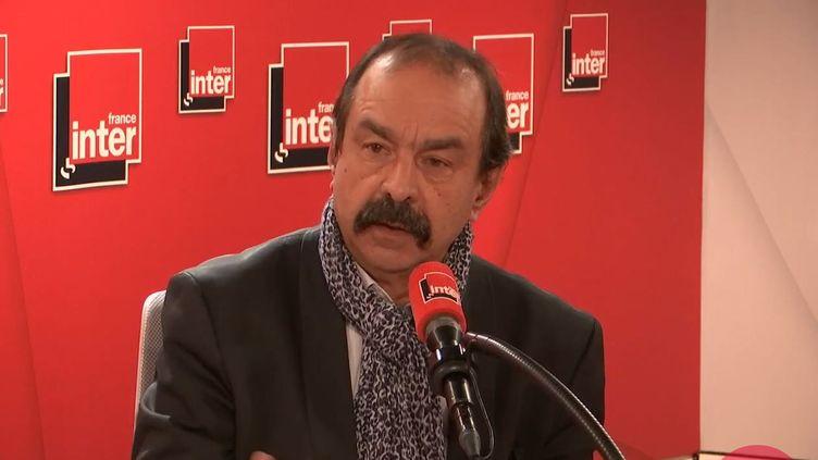 Le secrétaire général de la CGTPhilippe Martinez, invité de France Inter le 7 janvier 2020. (FRANCE INTER / RADIO FRANCE)