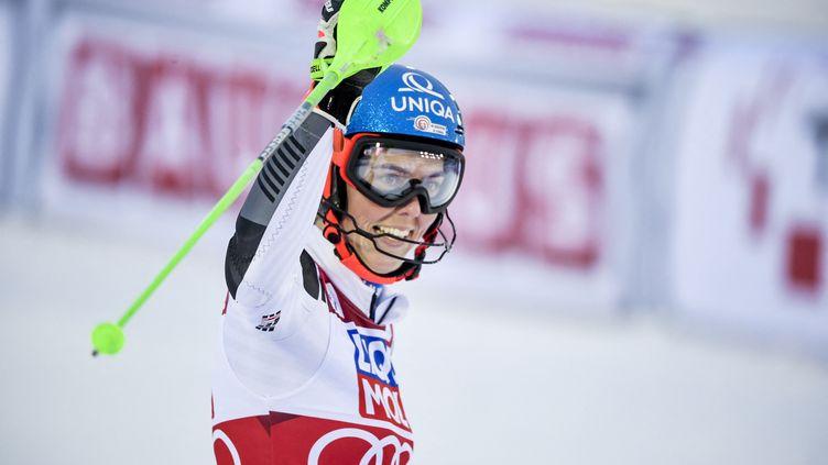 La Slovaque Petra Vlhova remporte le slalom d'Are, en Suède, le vendredi 12 mars. (PONTUS LUNDAHL / TT NEWS AGENCY)