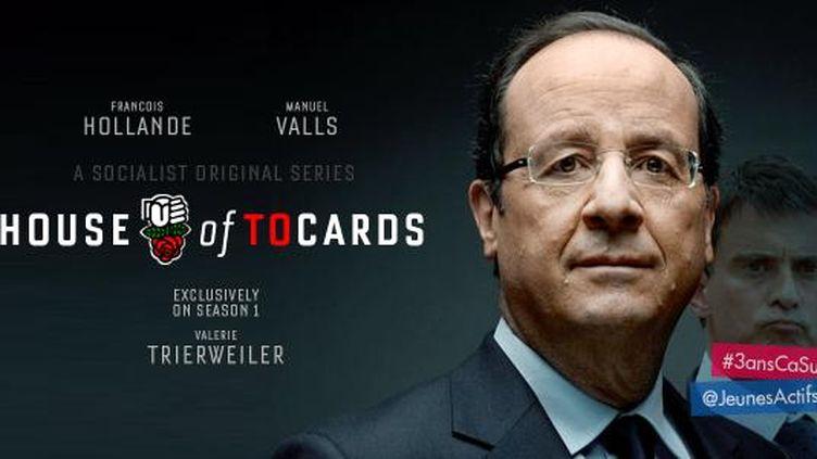"""L'affiche """"House of Tocards"""" mise en ligne par les Jeunes actifs UMP, le 4 mai 2015. (JEUNES ACTIFS UMP)"""