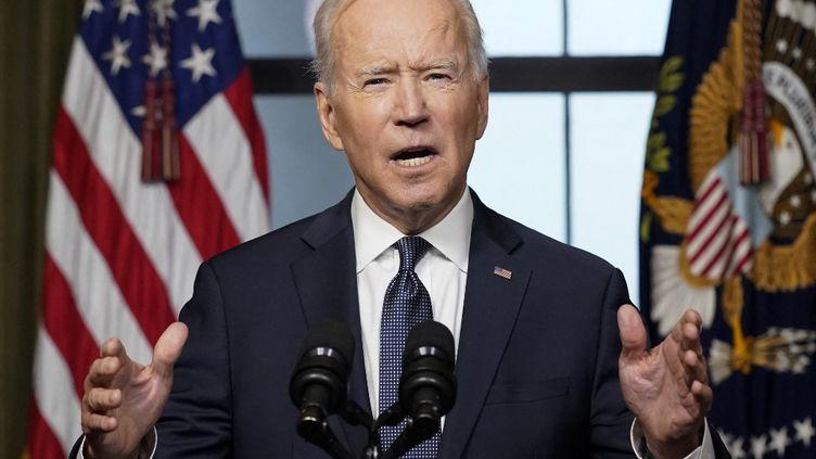 Le président américain, Joe Biden, annonce le retrait des troupes d'Afghanistan, le 14 avril 2021 à la Maison Blanche, à Washington. (POOL / GETTY IMAGES NORTH AMERICA / AFP)