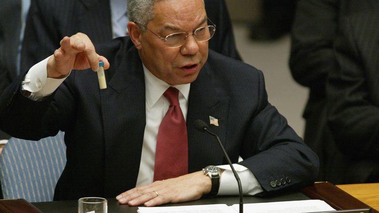 Le secrétaire d'Etat américain Colin Powell plaidepour une intervention militaire en Irakdevant le Conseil de sécurité de l'ONU à New York (Etats-Unis), le 5 février 2003. (TIMOTHY A. CLARY / AFP)