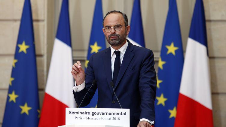 Le Premier ministre, Edouard Philippe, s'exprime à l'Elysée, à Paris, le 30 mai 2018. (FRANCOIS MORI / AFP)