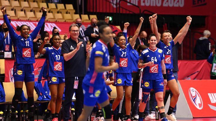 L'équipe de France féminine de handball lors de la demi-finale de l'Euro contre la Croatie, le 18 décembre 2020, à Herning (Danemark). (JONATHAN NACKSTRAND / AFP)