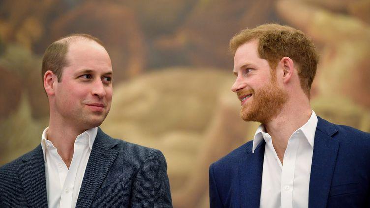 Le prince William et le prince Harry, à Londres, le 26 avril 2018. (TOBY MELVILLE / AFP)